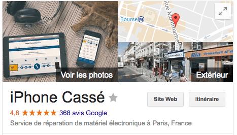 iPhoneCassé.fr 136 Rue Montmartre - Avis Google