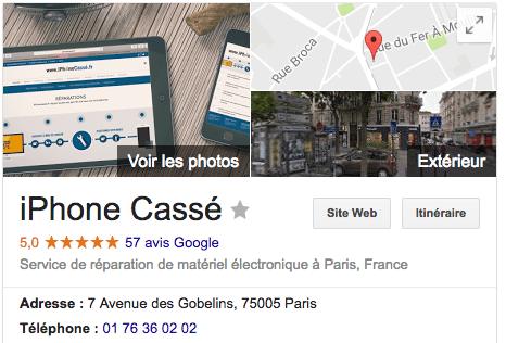 iPhoneCassé.fr - Avis Google - Gobelins